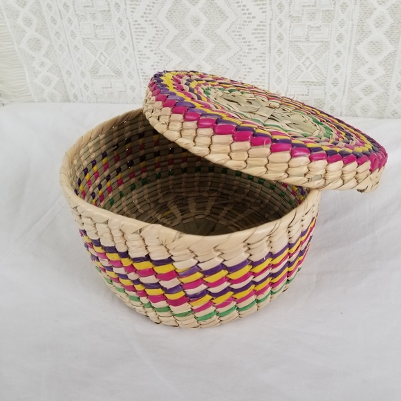 Vintage Woven Colorful Bohemian Basket and Lid
